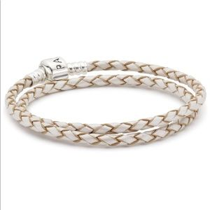 Authentic Pandora Leather Bracelet- Champagne